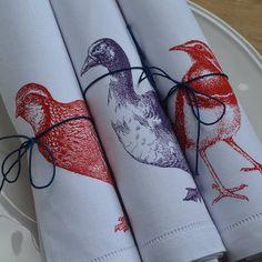 duck and birds napkins by the linen peddler | notonthehighstreet.com