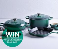 WIN 1 of 4 cast-iron hampers in Kale from Le Creuset worth 295 each! Hampers, Le Creuset, Kale, Cast Iron, Collard Greens, Cauliflowers, Savoy Cabbage, Sprouts, Cabbage