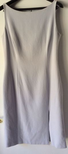 ESCADA Elements Baby Blue Cotton Dress Knee-Length Sleeveless Tailored Size 10 #ESCADA