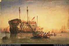 """View of prison hulk, the Thames. From """"Michael Keenan c1797-1846: Soldier Settler, 39th Regiment of Foot"""" (family history http://members.pcug.org.au/~pdownes/keenan/)"""