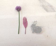 Eco friendly Brooch Rabbit White Gray - Doodle Bunny