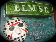Nightmare On Elm St. Vs Friday The 13Th! Nightmare On Elm St. Vs Friday The 13Th! The lady ordered this cake for her hubbys 30th b-day. He's a huge Freddy and Jason fan! They... #chucky #friday-the-13th #halloween #cakecentral