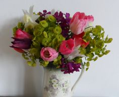 Picked these this morning from the garden before the rain bashes them down. Floral Bouquets, Flower Arrangements, Glass Vase, Wreaths, Garden, Flowers, Home Decor, Flower Bouquets, Floral Arrangements