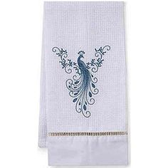 Guest towel with a beautiful embroidery of a peacock.  By JACARANDA LIVING. Made in South Africa. Available at www.rednook.com