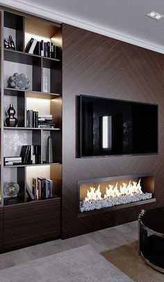 dreamy partition apartment design ideas you must have - page 14 ~ Modern House Design Living Room Modern, Home Living Room, Living Room Decor, Cozy Living, Apartment Living, Small Living, Fireplace Tv Wall, Fireplace Design, Dressing Design
