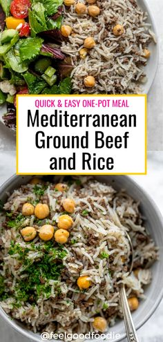 This Mediterranean Ground Beef and Rice dish is made with chickpeas and full of flavor. It's a quick, easy-to-make one pot meal the whole family will love! | Lebanese Recipes | Arabic Recipes | Rice and Meat | Family Dinners One Pot Dinners, Easy One Pot Meals, Lunches And Dinners, Ground Beef Rice, Beef And Rice, Chicken And Beef Recipe, Arabic Recipes, Lebanese Recipes, Food Staples