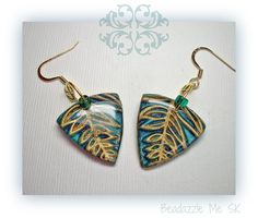 Teal & Gold Triangle Dangle Earrings, polymer clay jewelry. $14.00, via Etsy.