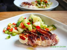 BBQ Bacon Wrapped Chicken with Pineapple Pepper and Chilli Salsa.