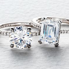 Strong solitaire look with a thin band that delivers brilliant detail - this @TacoriOfficial Truly T varietal of Simply Tacori features French pavé set diamonds on the band and is perfect for the modern bride. Shown in round and emerald. Which ring calls to you? #Tacori #TacoriRing #SayIDoWithTacori #HandcraftedInCalifornia #SimplyTacori #engagementring #solitairering