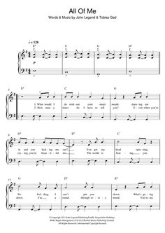 John Legend: All Of Me - Partition Piano Facile - Plus de 70.000 partitions à imprimer !