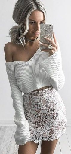 White Crop Knit + White Lace Skirt Source