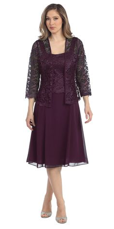 "<p>This short A line modest knee length plum dress is perfect for mother of the bride or another formal occasion. This lace with pebble dress has wide sleeveless tank straps and also includes a matching long sleeve lace bolero jacket. A classy dress for many different occasions!</p> <ul> <li>Design: <a href=""sally-dresses.html"">Sally Fashion</a>.</li> <li>Item number: 8485</li> <li>Material: chiffon pebble with lace.</li> <li> 100% polyester.</li> <li>Fully lined.</li> ..."
