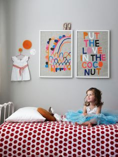 """I don't know what """"put the love in the coconut"""" means but this is a cute photo and girl's room!"""