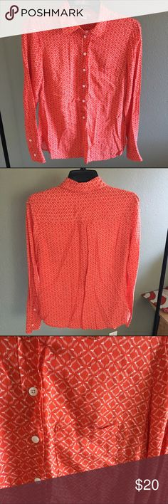 NWOT Dress Shirt Orange patterned dress shirt with one side pocket. Great soft material. NWOT. Dahlia Collection Tops