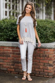 """""""Like It That Way Top, Heather Gray""""We like this top just the way it is! It's light heather gray color will look so good from spring all the way through summer! #newarrivals #shopthemint"""