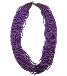Bliss Beads Woven Closure Seed Bead Necklace-Purple