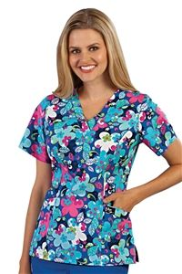 """Peaches Sport Amanda Scrub Print Top in """"Floral Symmetry"""" 9407-FLSM peaches Sport Amanda Scrub Print Top in """"Floral Symmetry""""    100% Cotton   V-neck princess top  Angled patch pockets for added fashion  Extra contrast pocket  Based on 9402 solid body style  Length: 26""""  XS-3X  $19.00 #scrubs #scrubcouture #nurses"""