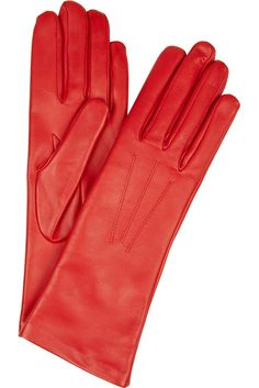 Italian red leather gloves