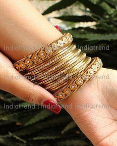 Sayali Bangle Set 16 Pc Antique Gold Tone Bangles Studded With CZs. Silver Bracelets, Sterling Silver Earrings, Bangle Bracelets, Gold Jewelry, Thread Bangles, India Jewelry, Healing Bracelets, Diamond Jewellery, Gemstone Bracelets
