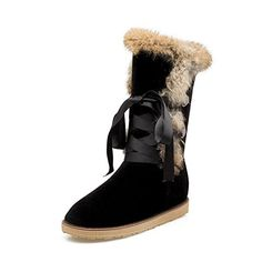 Women's Trendy Round Toe Platform Lace Up Faux Fur Ribbons Warm Pull On Boots