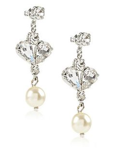 Cream Mix Pearl Effect & Diamanté Drop Earrings