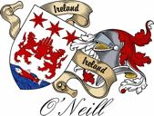 O'neill Irish Sept Coat of Arms from the website  www.4crests.com #coatofarms #familycrest #familycrests #coatsofarms #heraldry #family #genealogy #familyreunion #names #history #medieval #codeofarms #familyshield #shield #crest #clan #badge #tattoo
