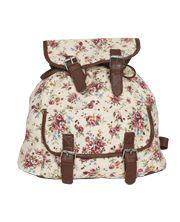 Floral Leather Trim Backpack