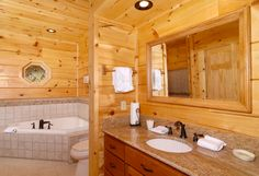 Getting ready never looked so good. Featured Cabin: The Deck House Cabin Bathrooms, Pigeon Forge Cabins, Gatlinburg Cabins, House Deck, Bathtub, Furniture, Home Decor, Standing Bath, Bathtubs