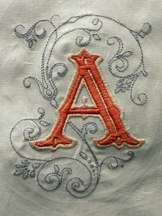 Hand embroidery......This could be the... A....for The University Of Alabama!!...They just won their 15th National Championship!!...Roll Tide!!