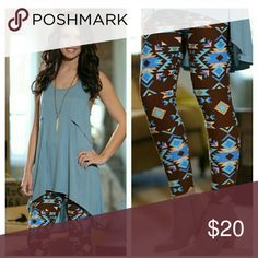 🌵 SOFT Aztec Print Leggings 🌵 COMING SOON Adorable, butter soft brushed knit leggings featuring brown background with blue, pink, and tan Aztec print.   So soft and comfortable, one size fit (2-12/14 best).  92% Polyester 8% Spandex  COMING NEXT WEEK, LIKE OR COMMENT FOR NOTIFICATIONS. Infinity Raine Pants Leggings