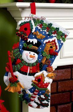 Bucilla ~ Snowman with Birds Felt Christmas Stocking Kit. 2010 PATTERN ~ Discontinued in 2013 This pattern has been discontinued so please make sure you dont miss the chance to purchase one while there are still some new ones available. This Jolly Snowman really has his hands full