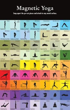 Break apart magnets to use on metal board.  Rearrange for each yoga practice.  Need to look for these!...or make some.