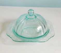 Depression Glass Teal Madrid Covered Butter Dish.