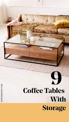 9 coffee tables with storage.
