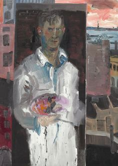 """ Rainer Fetting (German, b. Selfportrait at Greenwich Oil on canvas, x 127 cm. Rainer Fetting, Neo Expressionism, Portrait Art, Portraits, Selfies, Paul Cezanne, Punk Art, Figurative Art, Art Forms"