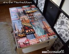 Ikea table covered with d-c-fix Manhattan  #ikea #lack #table #cover #dcfix