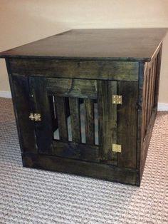 Wooden dog crate end table (hid the unsightly metal crate)
