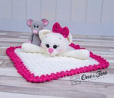 Best 12 Ravelry: Kissie Kitty & Skip Mouse lovey pattern by Carolina Guzman Crochet Kids Scarf, Crochet Lovey, Crochet Cat Pattern, Crochet Unicorn, Crochet Teddy, Manta Crochet, Crochet Blanket Patterns, Crochet For Kids, Crochet Security Blanket