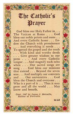 The Catholic's Prayer - Vintage Holy Card - 1947
