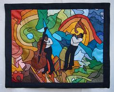 Jazz TECHNIQUE: Fiber Art. Patchwork of indian silk shantung fabric. The pieces of tissue are glued on fusible canvas and then sewn together with buttonhole stitch . SIZE: 37.82'' X 30.73''