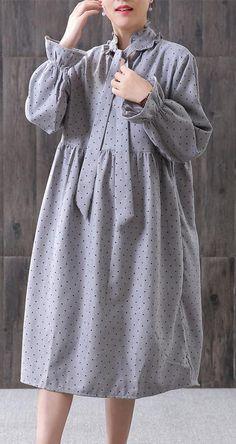 Style Cotton tunic pattern Gray Women Spring Small Dot Petal Sleeve Literary DressCustom make service available! Cotton Tunics, Cotton Dresses, Linen Dresses, Simple Dresses, Cute Dresses, Casual Dresses, Iranian Women Fashion, Muslim Fashion, Simple Dress Pattern