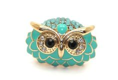 Green Enamel, Rhinestones and Crystals Owl Stretch Cocktail Ring | AyaDesigns - Jewelry on ArtFire