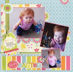 Yenna and Her Easter Pinwheels - Scrapbook.com - #scrapbooking #layouts