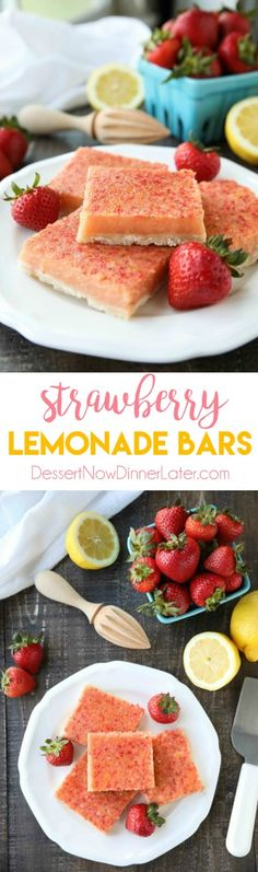 Four Kitchen Decorating Suggestions Which Can Be Cheap And Simple To Carry Out Strawberry Lemonade Bars Combine Fresh, Ripe Strawberries With Classic Lemon Bars For A Delicious Sweet And Tangy Summer Dessert. Lemonade Bar, Strawberry Lemonade, Strawberry Recipes, Yummy Treats, Sweet Treats, Yummy Food, Healthy Treats, Easy Desserts, Dessert Recipes