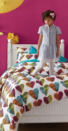 Both Jay and I like this. I just need storage under the bed for either bedding or toys.Have a Heart Girl's Bedding #kids #rooms #girls #decor