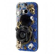 Handmade Floral Bow Crystal Bling Phone Case for HTC Htc Phone Cases, Gadgets And Gizmos, Mobile Cases, Protective Cases, Shells, Sparkle, Bling, Bows, Crystals
