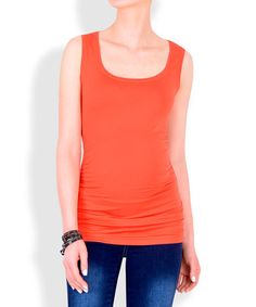 Love this Mandarin Red Ruched Luxury Maternity Sleeveless Top by Miccimo on #zulily! #zulilyfinds