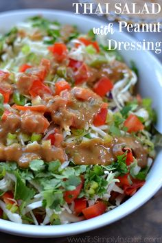 This Thai Salad with Peanut Dressing, inspired by a California Pizza Kitchen's favorite, is loaded with freshness. The mouthwatering, creamy dressing is what puts it over the top delicious.
