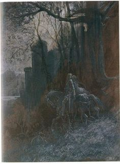 Geraint and Enid Ride Away. Gouache and watercolor on brown paper by Gustave Dore, French, Illustration was for Alfred Lord Tennyson's Idylls of the King. Mists Of Avalon, Alfred Lord Tennyson, Pere Lachaise Cemetery, Christina Rossetti, Classical Greece, Ghost Photos, Pre Raphaelite, See Images, Wood Engraving