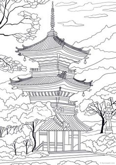 Adult Coloring Pages Asian Pagoda